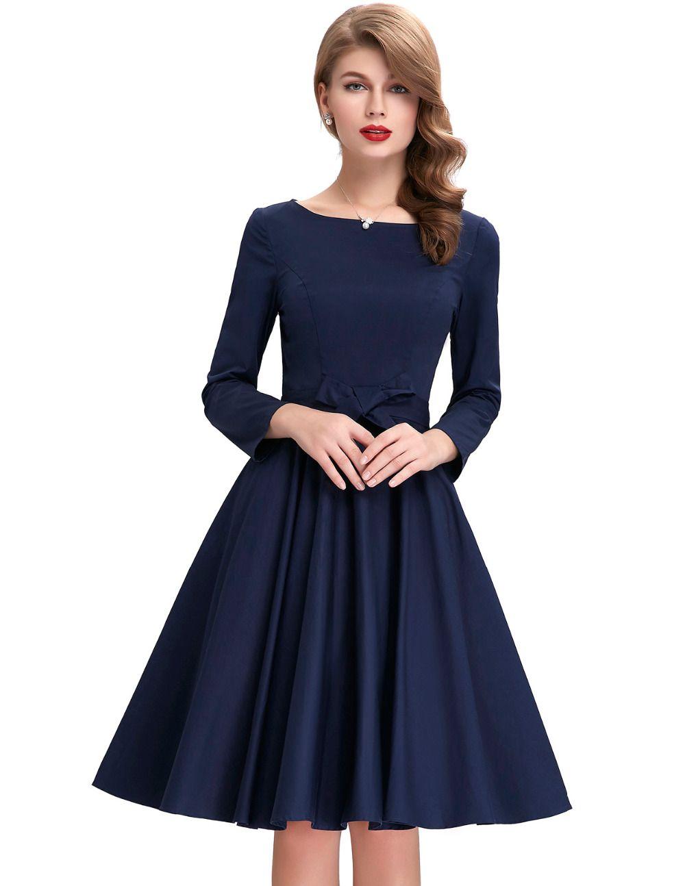 Cotton long sleeve s rockabilly dresses autumn retro