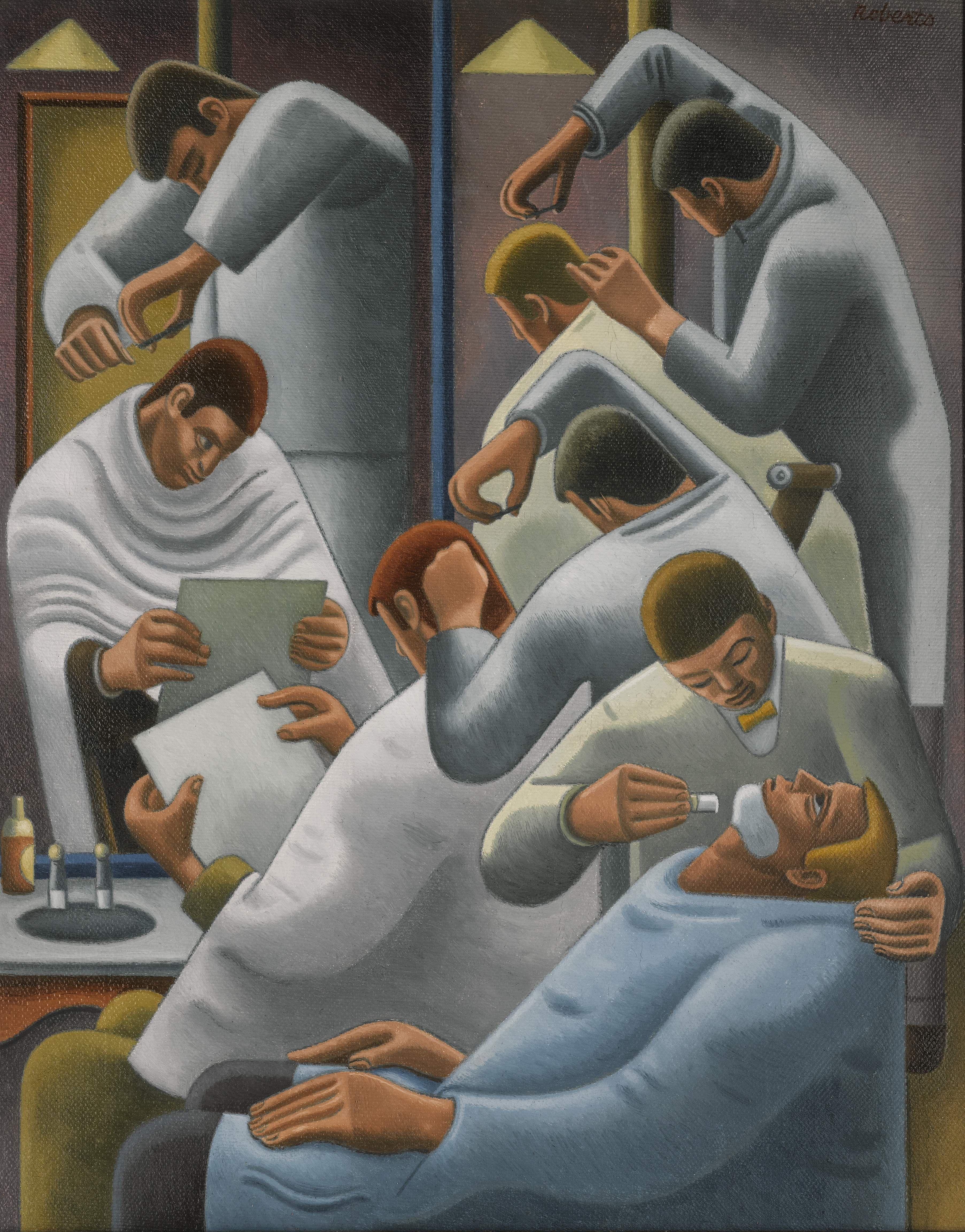"William Roberts 1895-1980 "" Barber' 1946 British Painter Art11 Barber"