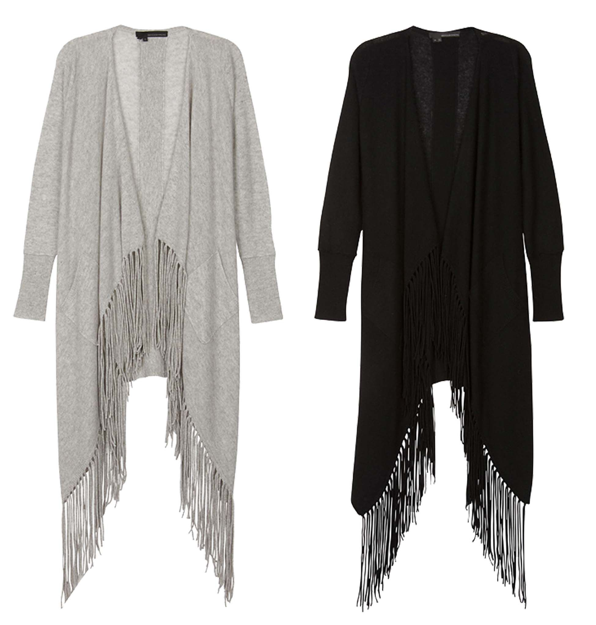 360Cashmere Fringe Waterfall Cardigan in light grey or black now ...
