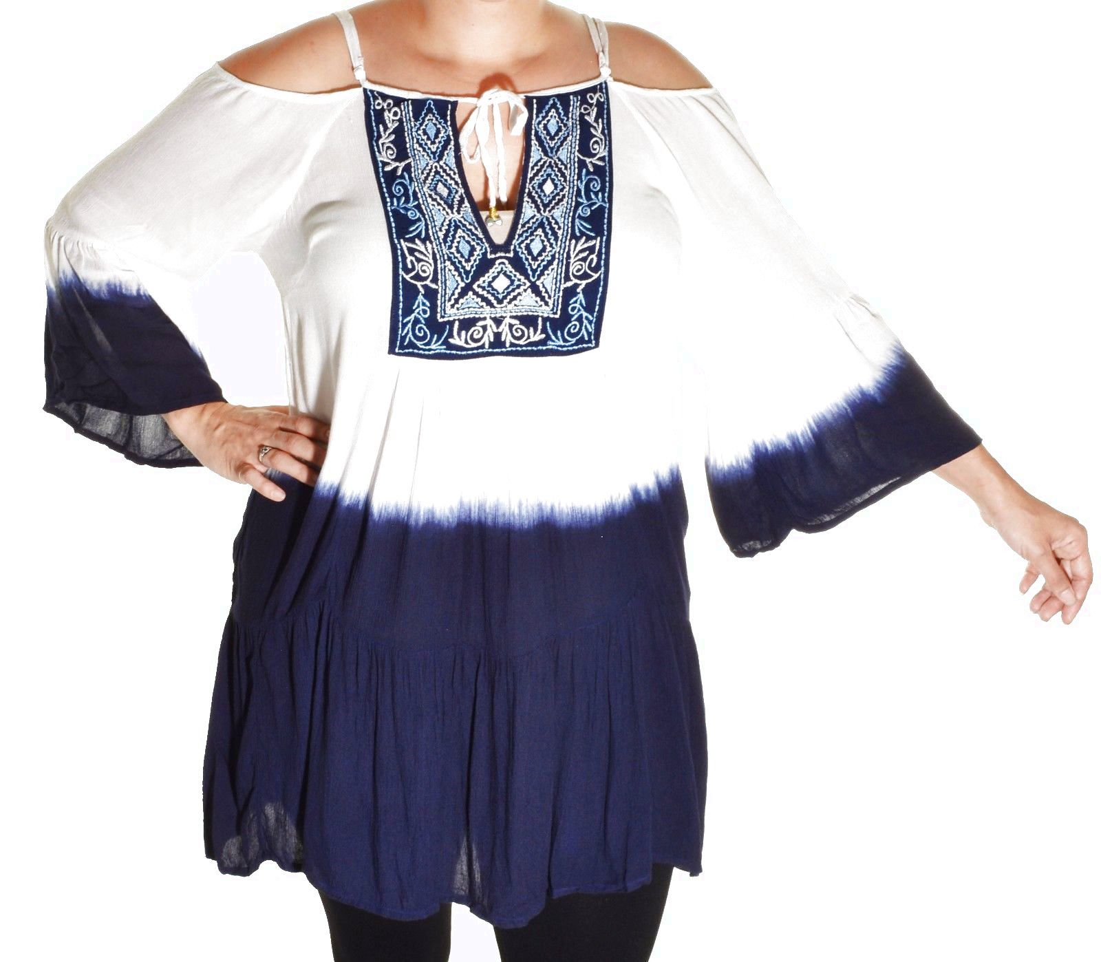 41bde017f56e5 Highness Ombre Cold Shoulder Tunic Embroidered Top Long Bell Sleeve Shirt  Plus  21.5