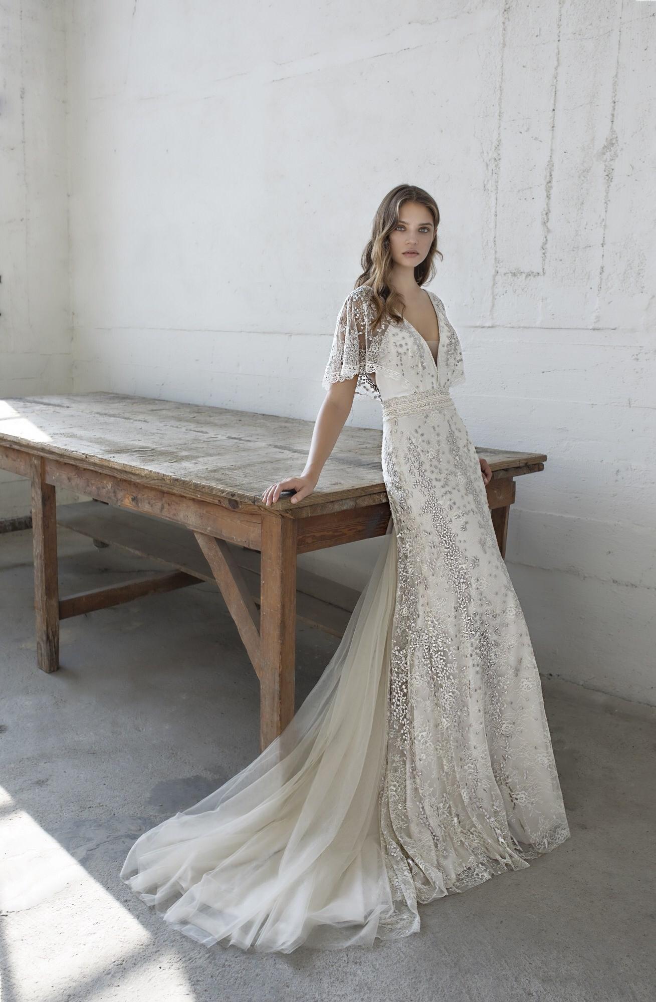 Modeca Le Papillon Eden Trouwjurk Eden Wedding Dress Boho Wedding Dress Lace Sheath Wedding Dress [ 2000 x 1309 Pixel ]