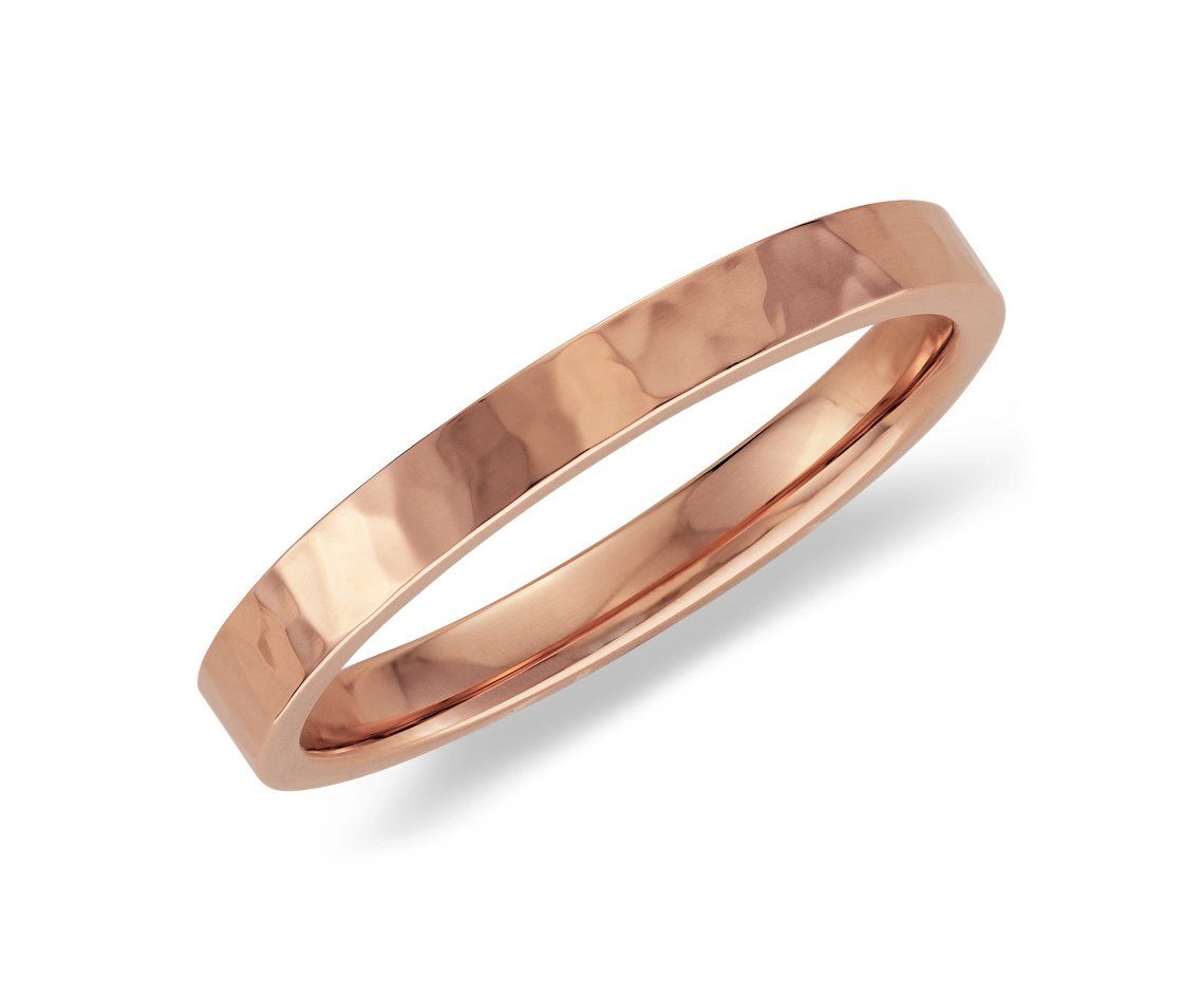 Hammered Ring in 14k Rose Gold BlueNile Gems Pinterest Rose
