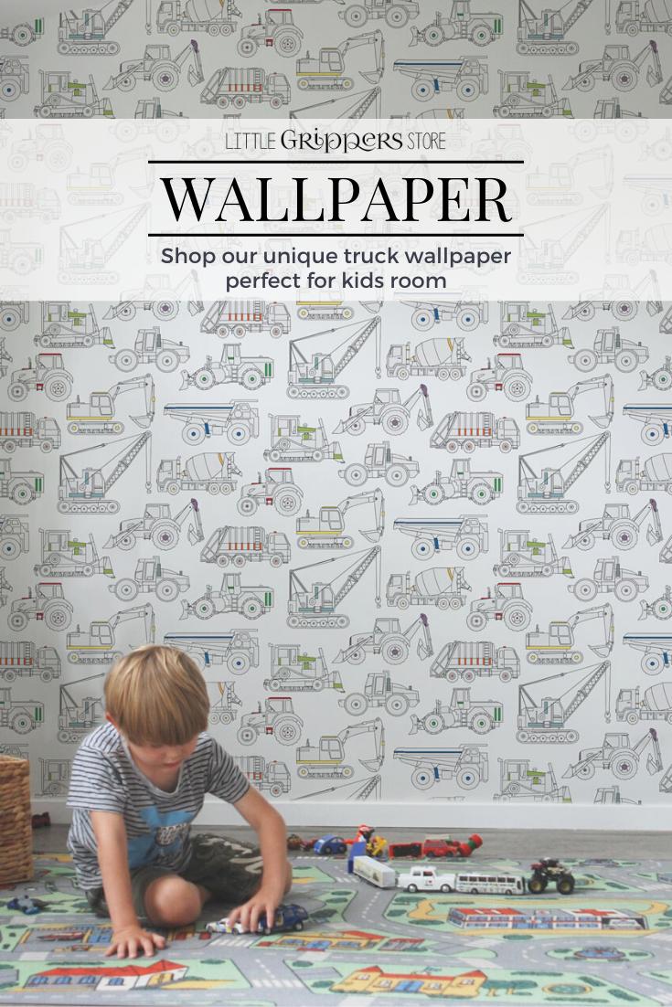 Truck Wallpaper Kids Removable Wallpaper Fabric Wallpaper Etsy Kids Wallpaper Toddler Room Decor Kids Room