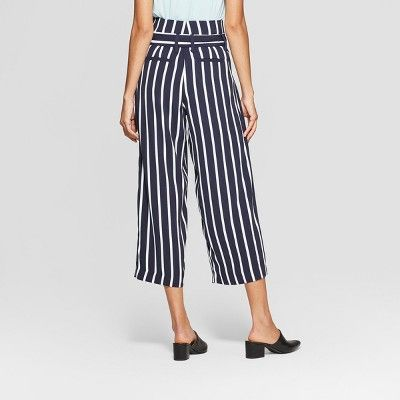 cee1147468a Women s Striped Wide Leg Paperbag Crop Pants - A New Day Navy White ...