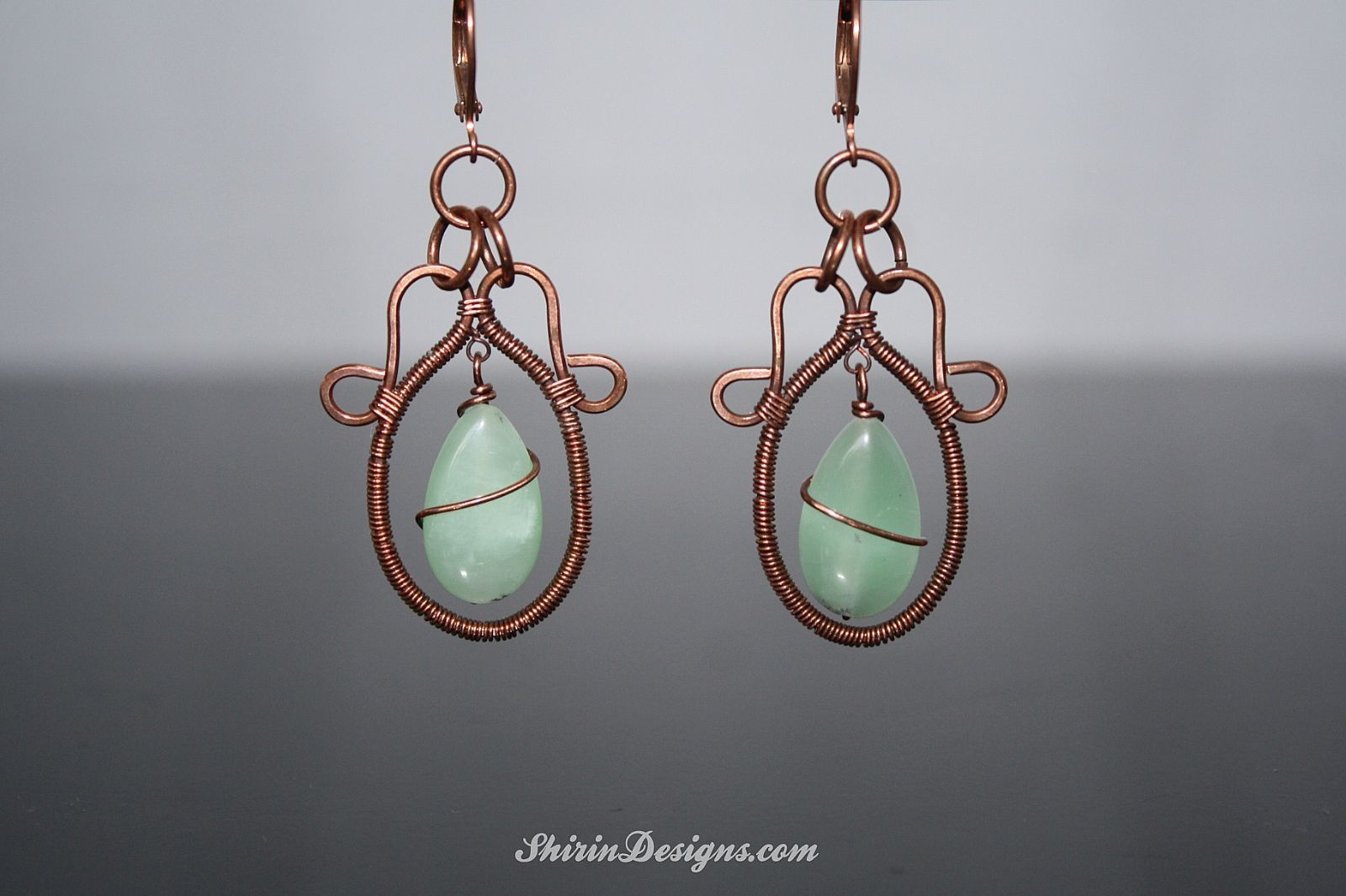 Green Amazonite and Copper and made earrings.