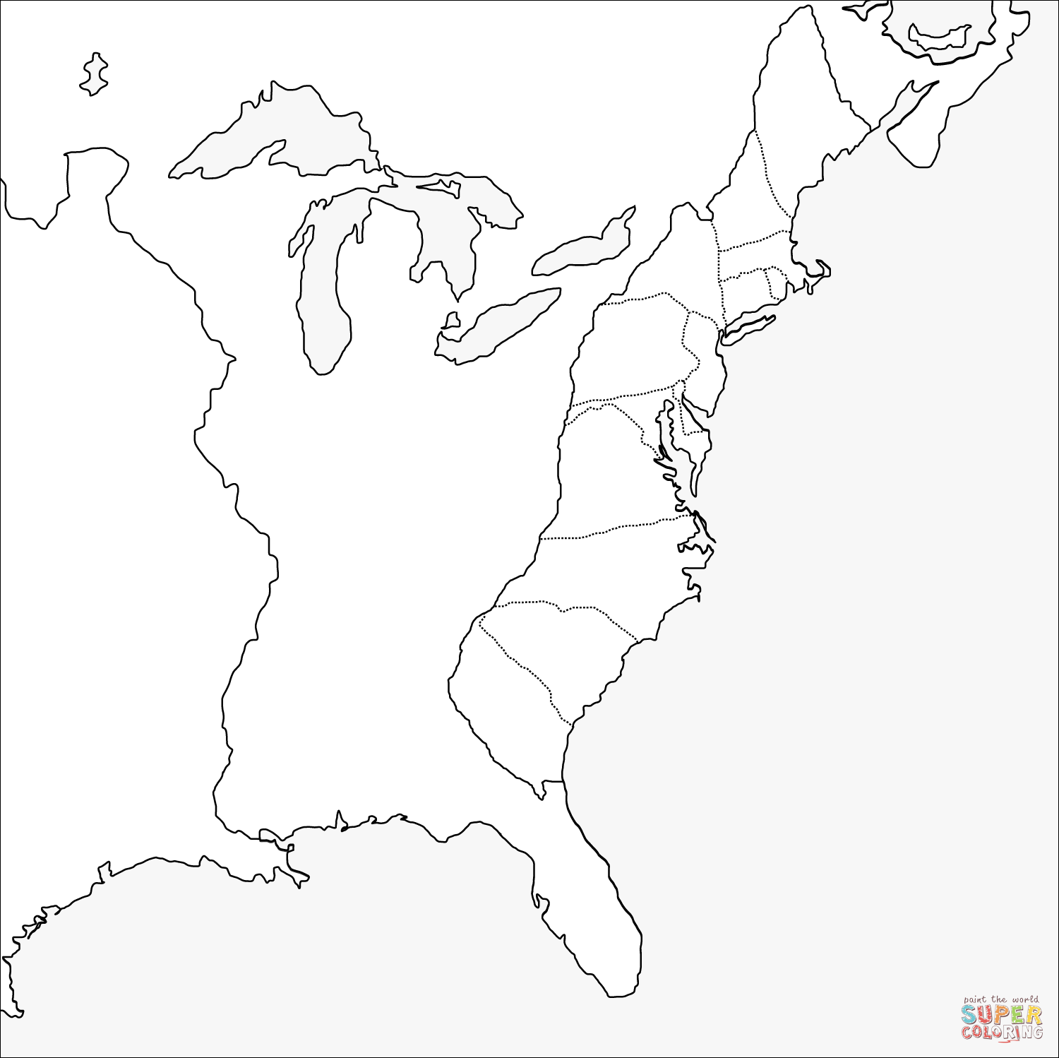 Thirteen Colonies Blank Map