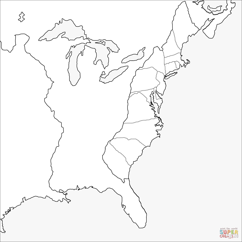Thirteen Colonies Blank Map
