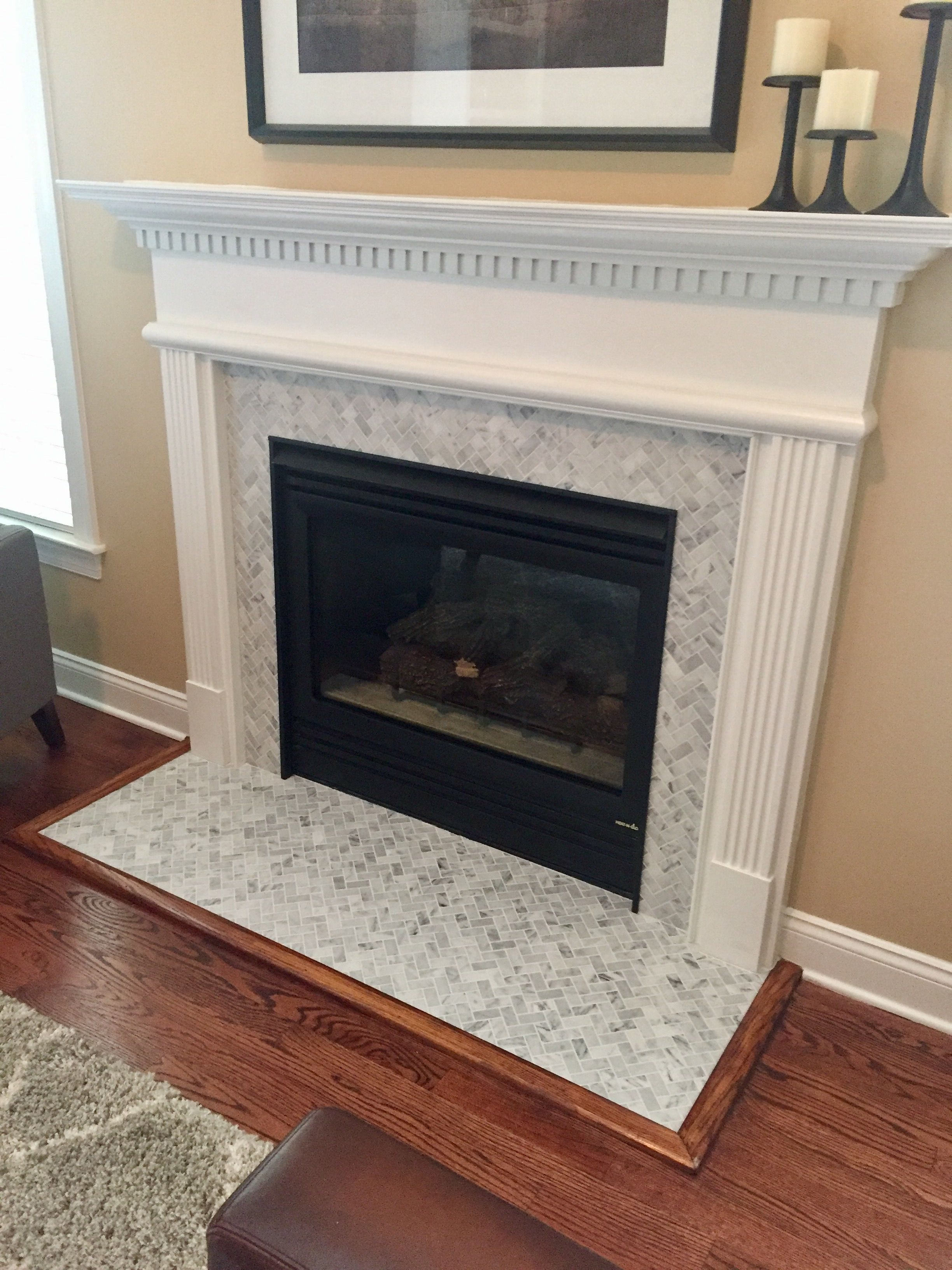 2X1 Italian Marble Herringbone Tile Fireplace Renovation