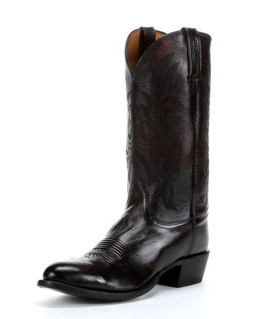 bf3c6ccb317 Lucchese Men's Black Cherry New Leaf Stitch R Toe Boot | wear and ...