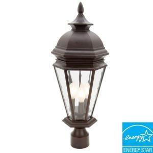 Hampton Bay Georgetown 3 Light Outdoor Bronze Post Lantern Cil1803m The Home Depot Outdoor Post Lights Lantern Post Outdoor Lighting