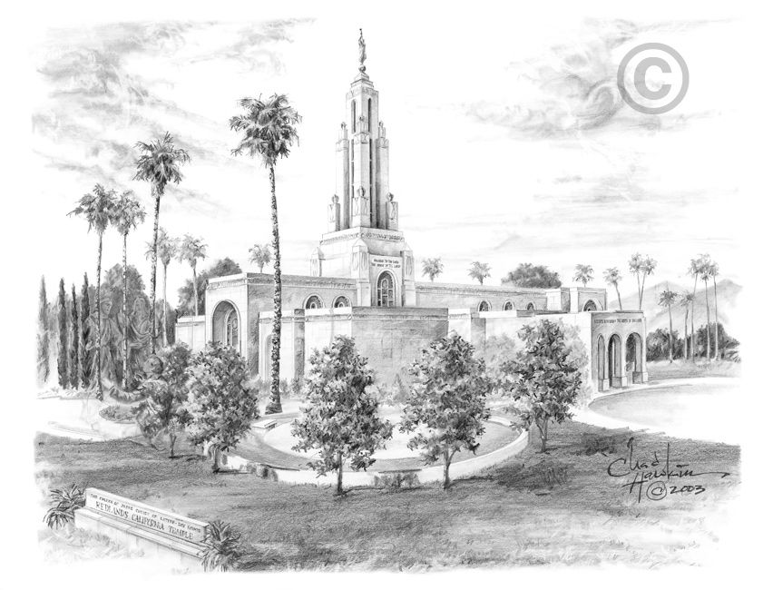 Redlands California Temple Sketch By Chad Hawkins LDS Temples - Lds temples in the us map