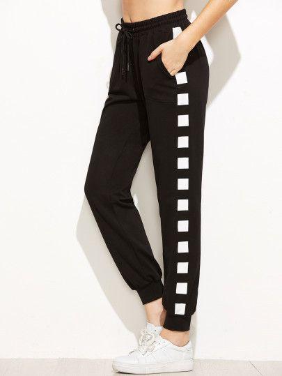 209f5cf9b5f83 Pantalones deportivos con cordón en la cintura - negro