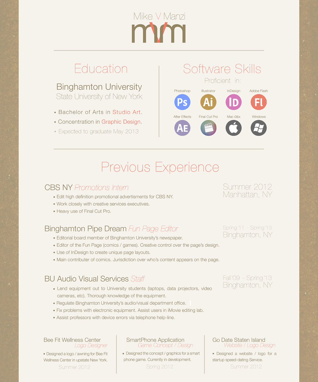 Very simple and non-traditional resume for design, advertising ...