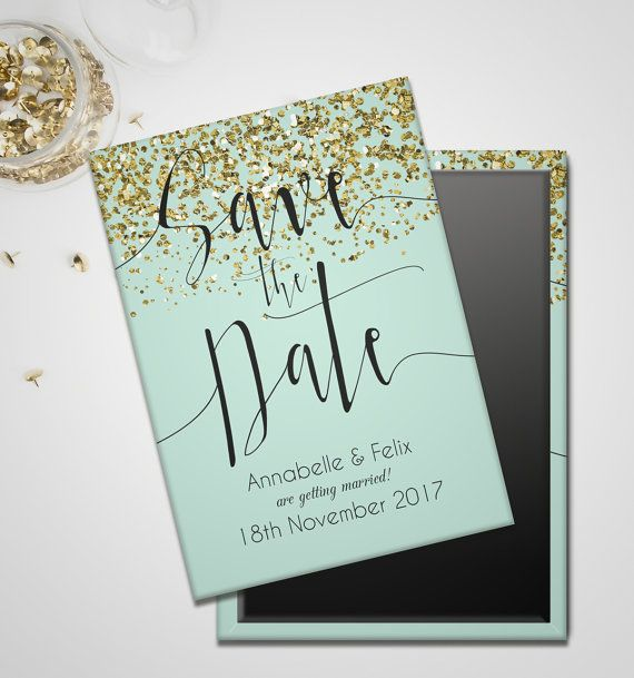 Mint And Gold Glitter Save The Date Magnet Mint Wedding Themes