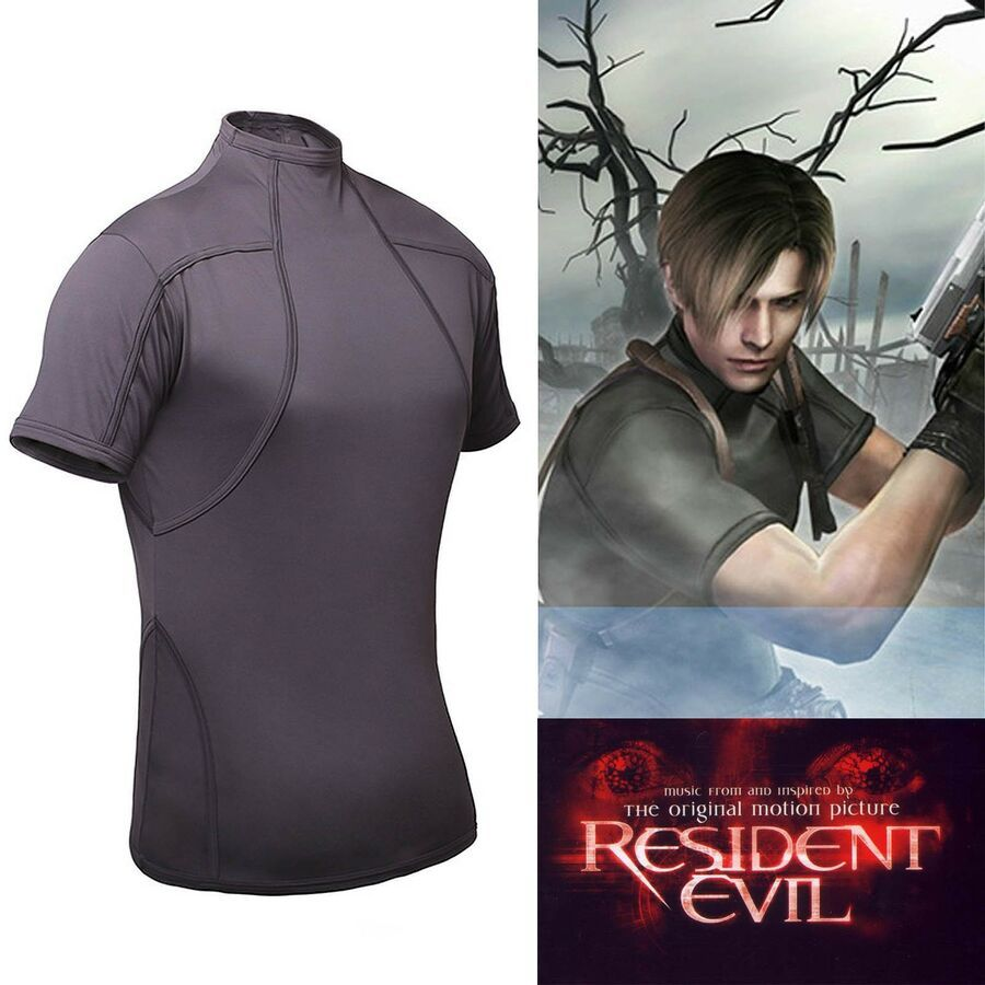 Resident Evil 4 Biohazard Leon Kennedy Grey Tee T Shirt Cosplay