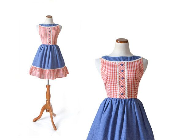 1950s Dress / 50s Gingham Dress /  Denim Dress / Small Dress / Women Clothing Dress /  Vintage Clothing Dress Day