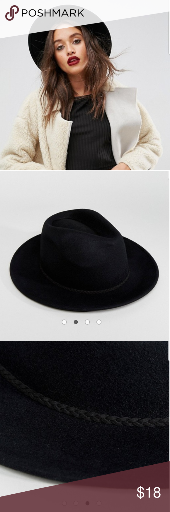 560f8d5a ASOS Black Panama Hat Never got to wear it! ASOS DESIGN felt panama hat  with plait braid trim with size adjuster PRODUCT DETAILS Pure felt wool  Pinched top ...