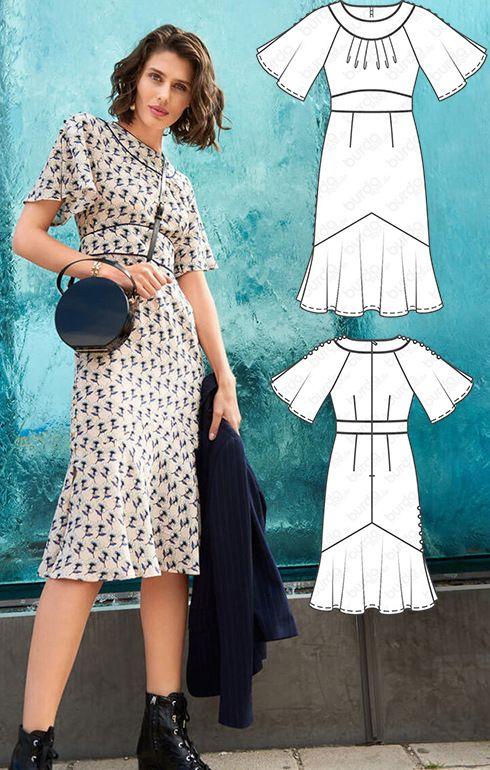 Swinging Midi Dress 02/2018 #101 | Burda Patterns | Pinterest