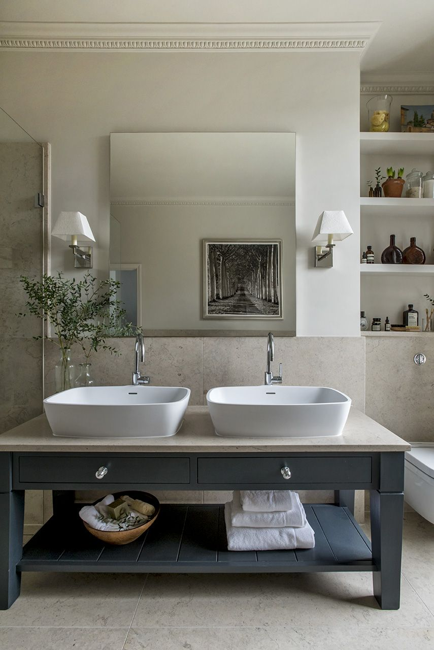 London Townhouse Master Bathroom Double Sink. Sims Hilditch Interior Design