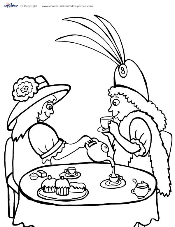 printable tea party coloring page 1 coolest free printables - Princess Tea Party Coloring Pages