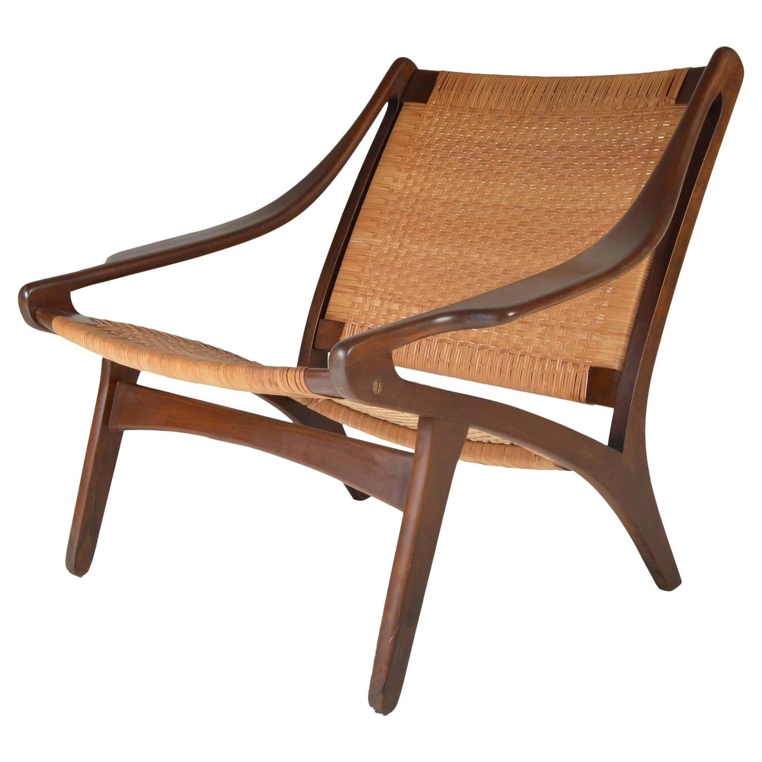 Early IB Kofod Larsen Walnut and Cane Easy Chair | From a unique collection of antique and modern chairs at https://www.1stdibs.com/furniture/seating/chairs/