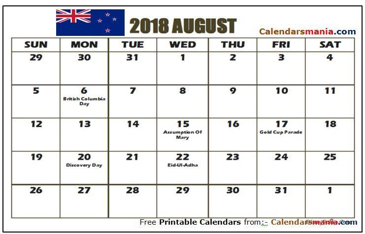 August 2018 Calendar New Zealand August 2018 Calendar Pinterest