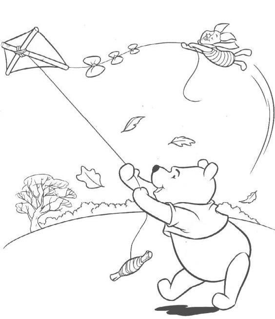 Pooh & Piglet flying a kite - to color!   Kite Coloring Pages ...