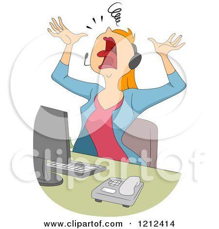 Happy Call Center Cartoons Cartoon Of A Stressed Female Customer Service Call Center Call Center Cartoon Cartoon Pics