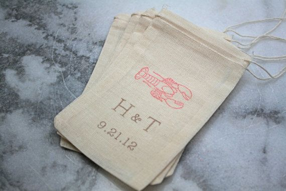 There are a lot of variations on this theme. Personalized wedding favor bags muslin 3x5. by ClementineWeddings, $62.50
