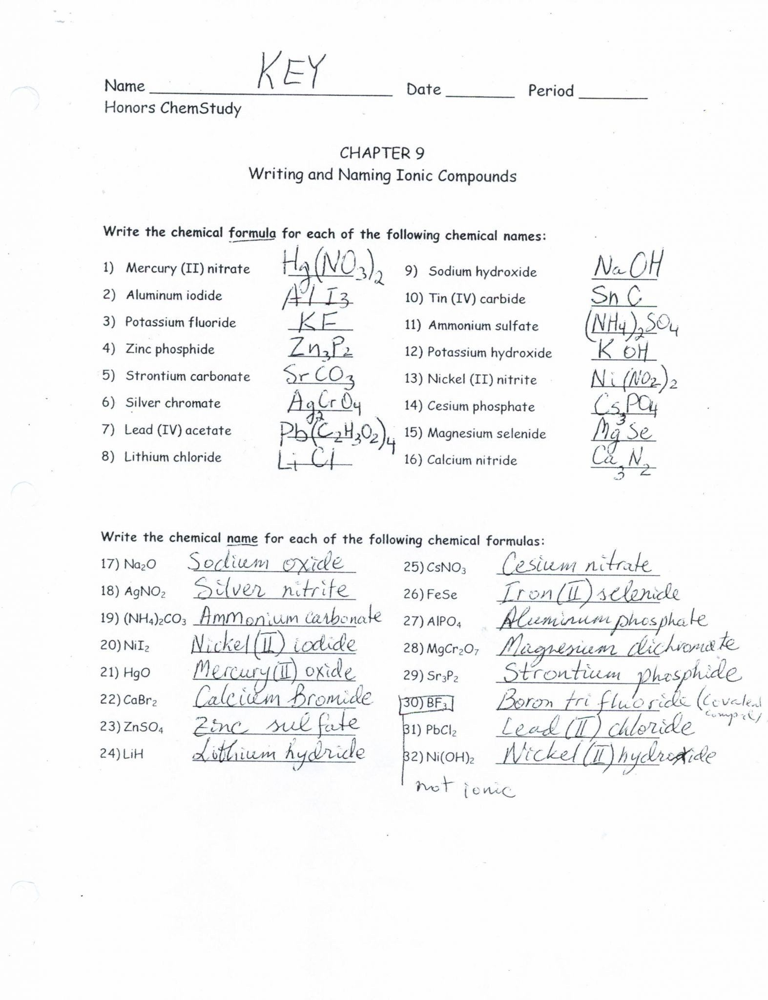 Naming Binary Ionic Compounds Worksheet in 2020