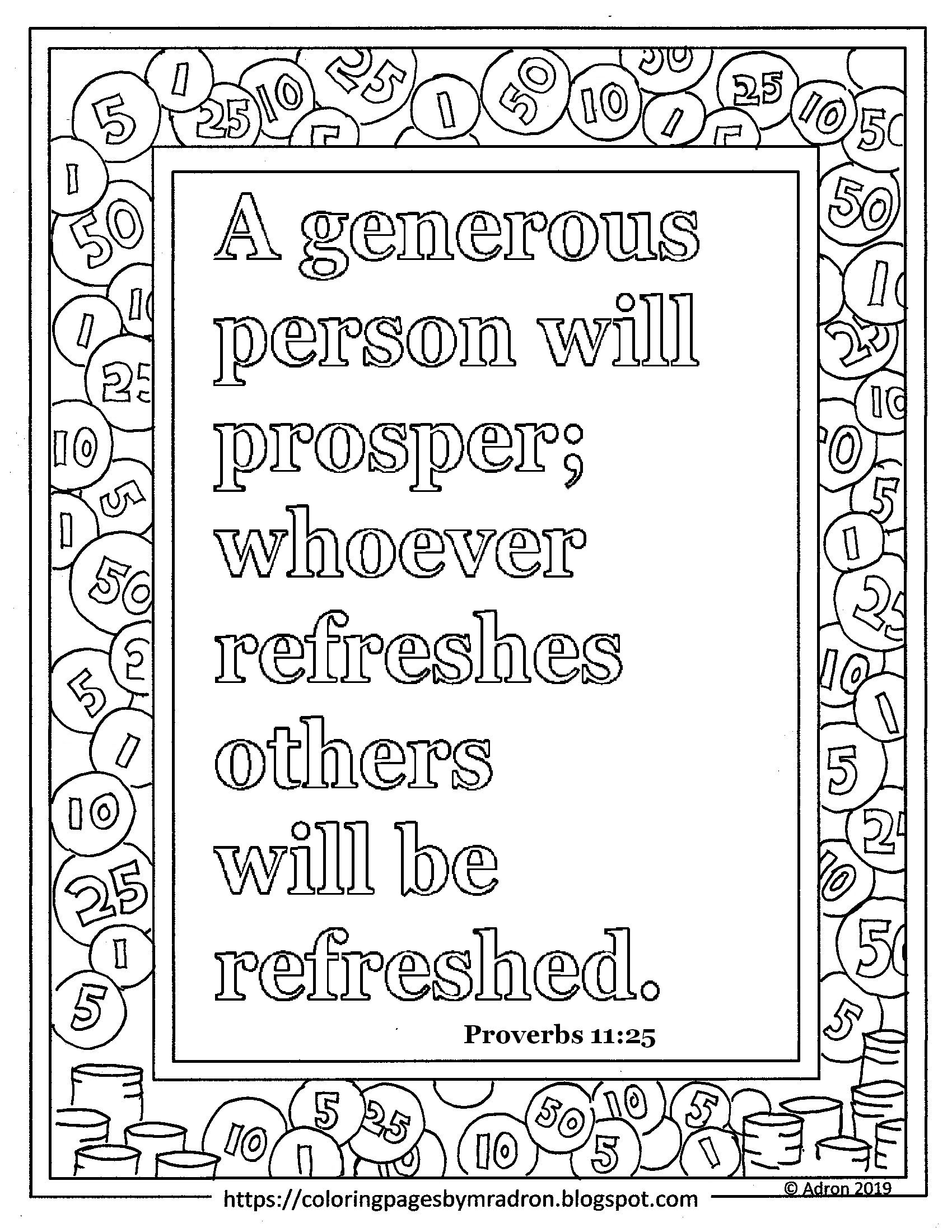 Free Proverbs 11 25 Print And Color Page A Generous Person Will