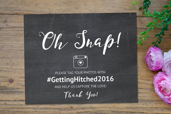Hashtag Wedding, Hashtag Sign, Oh Snap Hashtag Sign, Rustic - weekend scheduled template