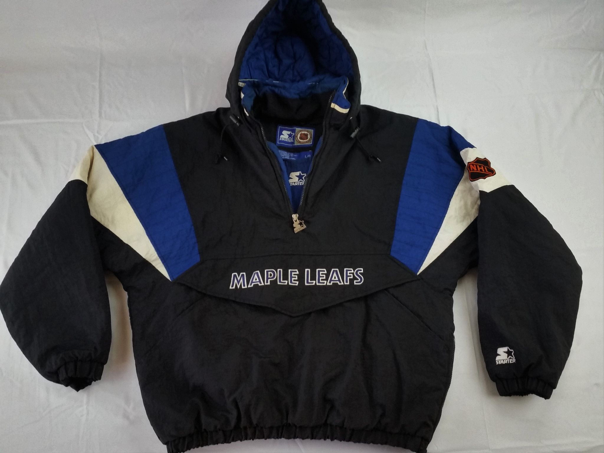 Toronto Maple Leafs Starter Jacket Vitnage Rare Black Pullover Coat Mens  Large Vintage Windbreaker 3b02fb2ff