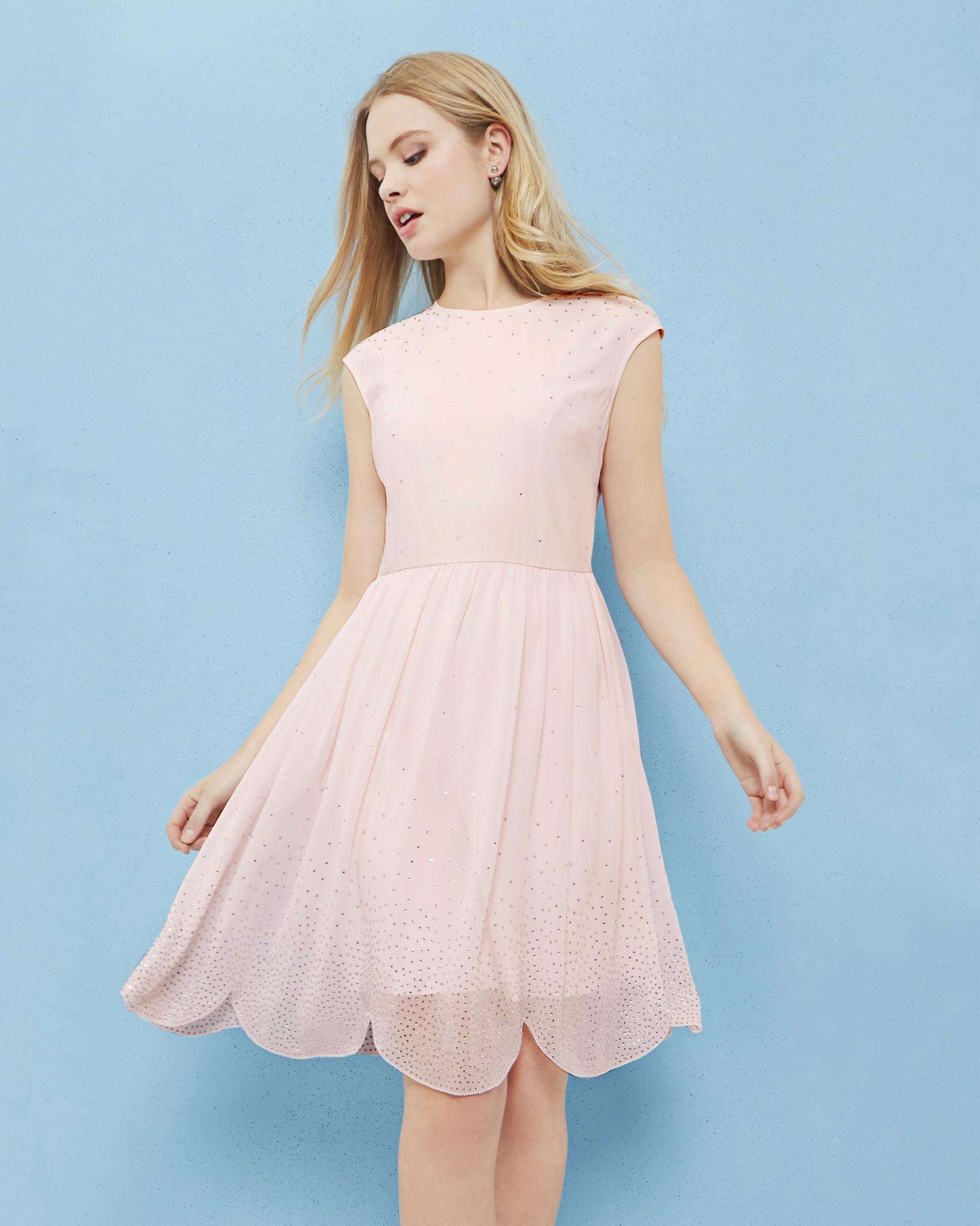 9a4bbeb25 Embellished scallop hem dress - Baby Pink | Dresses | Ted Baker ...