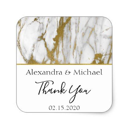Thank You White and Gold Elegant Marble Square Sticker - marble