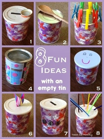 Fun Ideas For A Tin Teach Me Mommy Formula Can Crafts Baby Formula Cans Baby Toys Diy