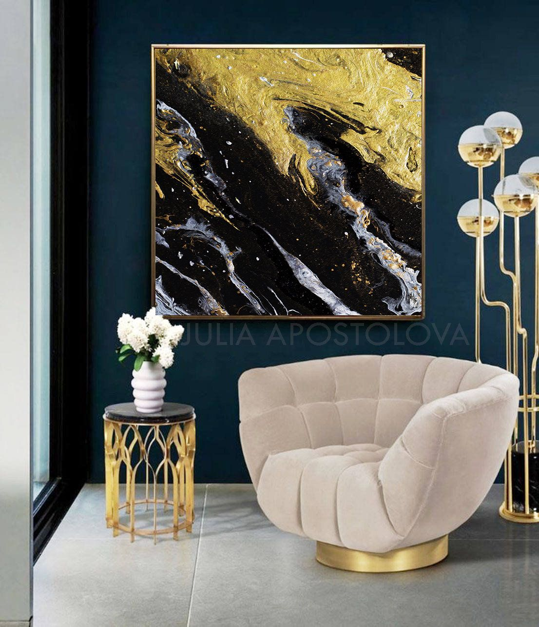 45 Black And Gold Art Canvas Print Watercolour Painting