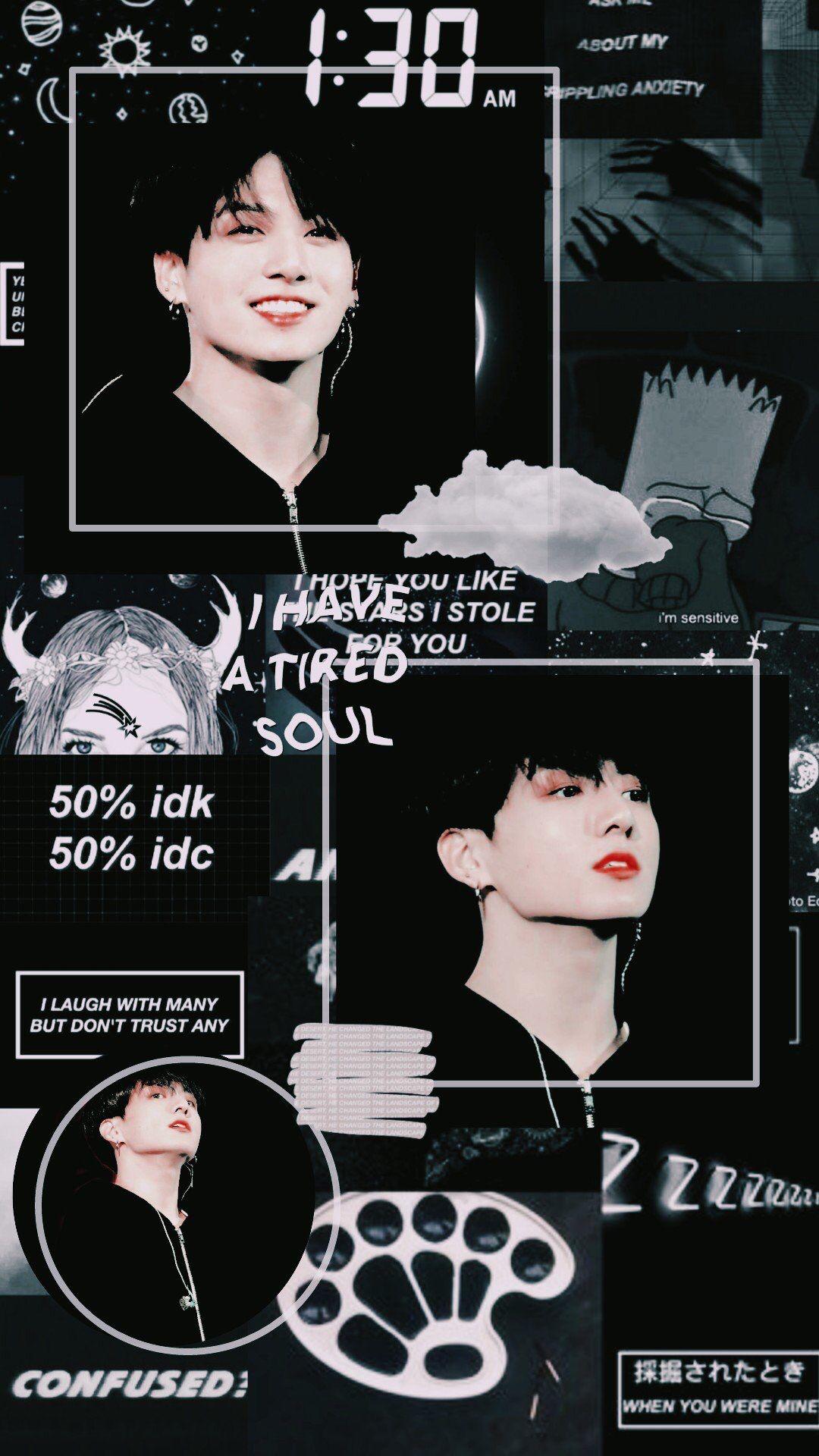 Bts Jungkook Black Aesthetic Wallpaper Lockscreen Game Art Janji Pernikahan Gambar