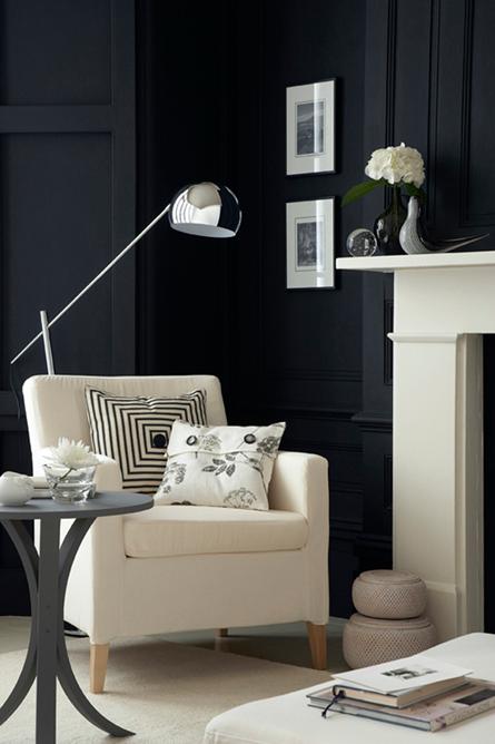 Black walls and monochrome interior
