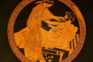 The Rites Of Eleusis Or The Eleusinian Mysteries Were The Secret Rituals Of The Mystery School Of Eleusis And Wer Poterie Grecque Art Grec Peintures Grecques