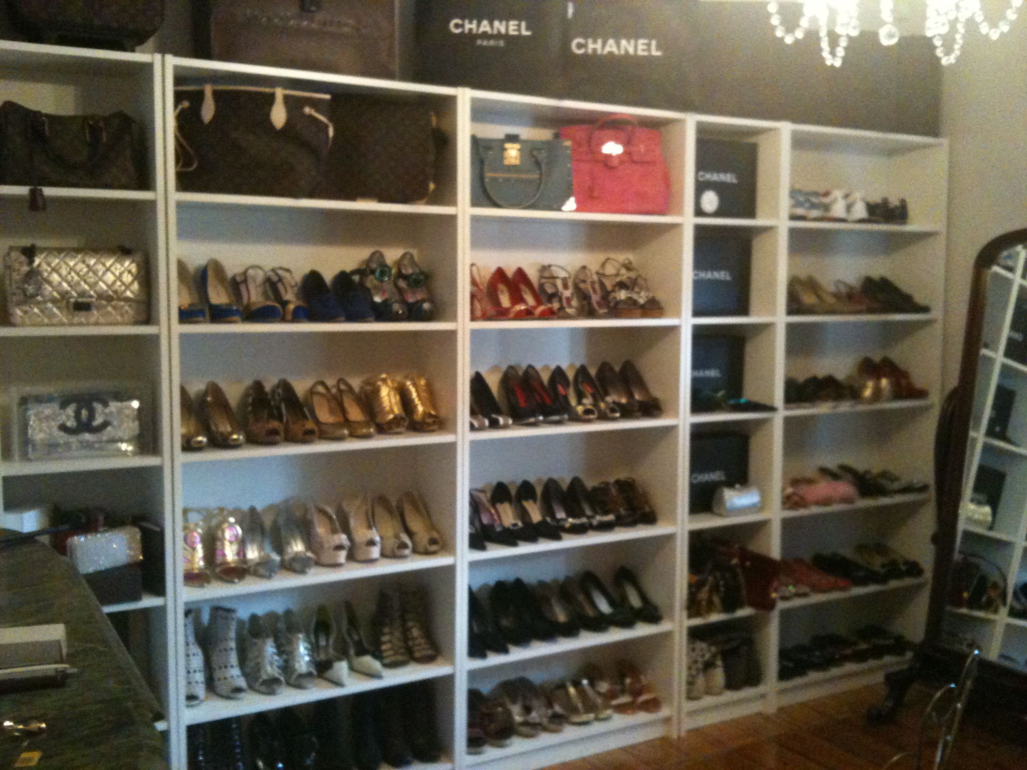 just use open book shelves for bag & shoe storage from IKEA