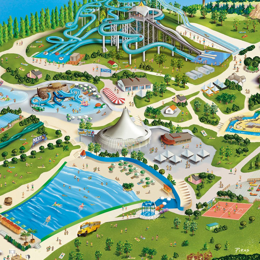 AQUAFANRiccione, ItalyTheme park illustration, on