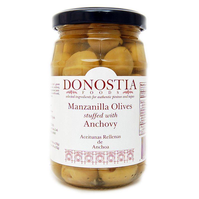 Manzanilla olives stuffed with anchovy manzanilla olives