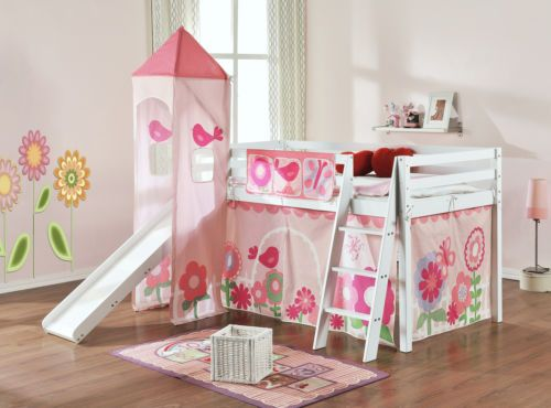 Details About Cabin Bed Mid Sleeper Kids Bed With Slide And