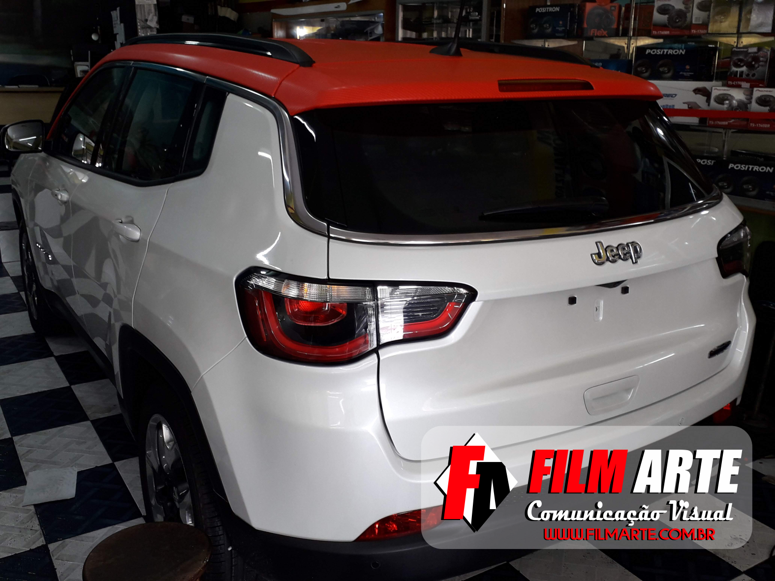 Envelopamento Do Teto Do Jeep Compass Adesivo Fibra De Carbono