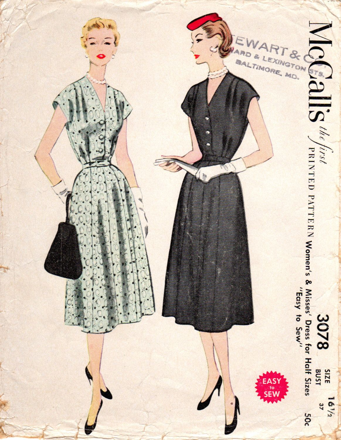 1950s Womens Half Size Shirtwaist Shirtdress - Vintage Pattern McCall's 3078 - Bust 37 by ErikawithaK on Etsy