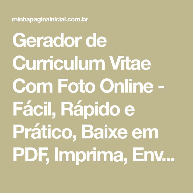 Gerador De Curriculum Vitae Com Foto Online