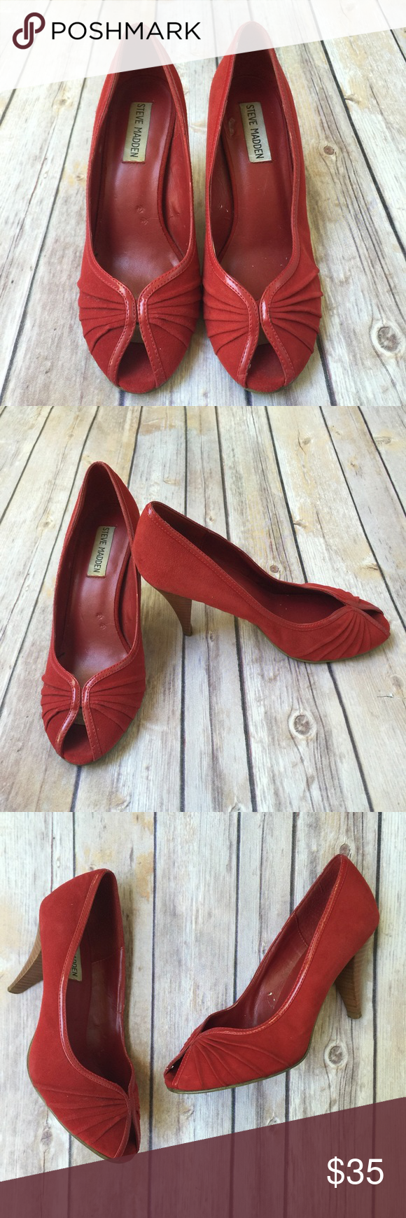 """🚨 BOGO Steve Madden Peep-Toe Heels Peep-toed red heels are a must for summer! They will brighten up any dress. And they will take any outfit from drab to fab! Leather upper. 3"""" heel. Everything in my closet is BOGO half off today only. Steve Madden Shoes Heels"""