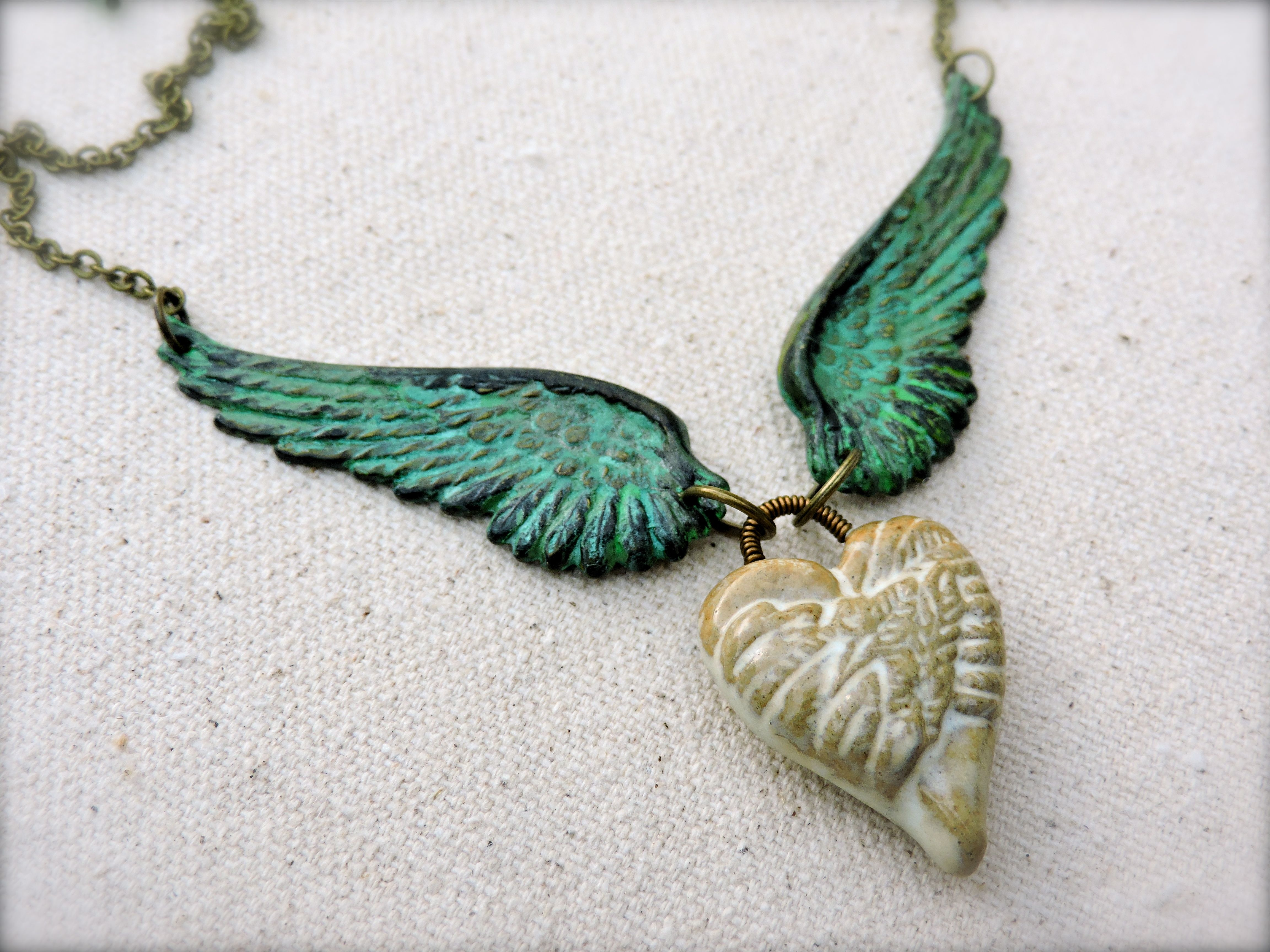 Winged heart pendant necklace mbw original pendants angel and