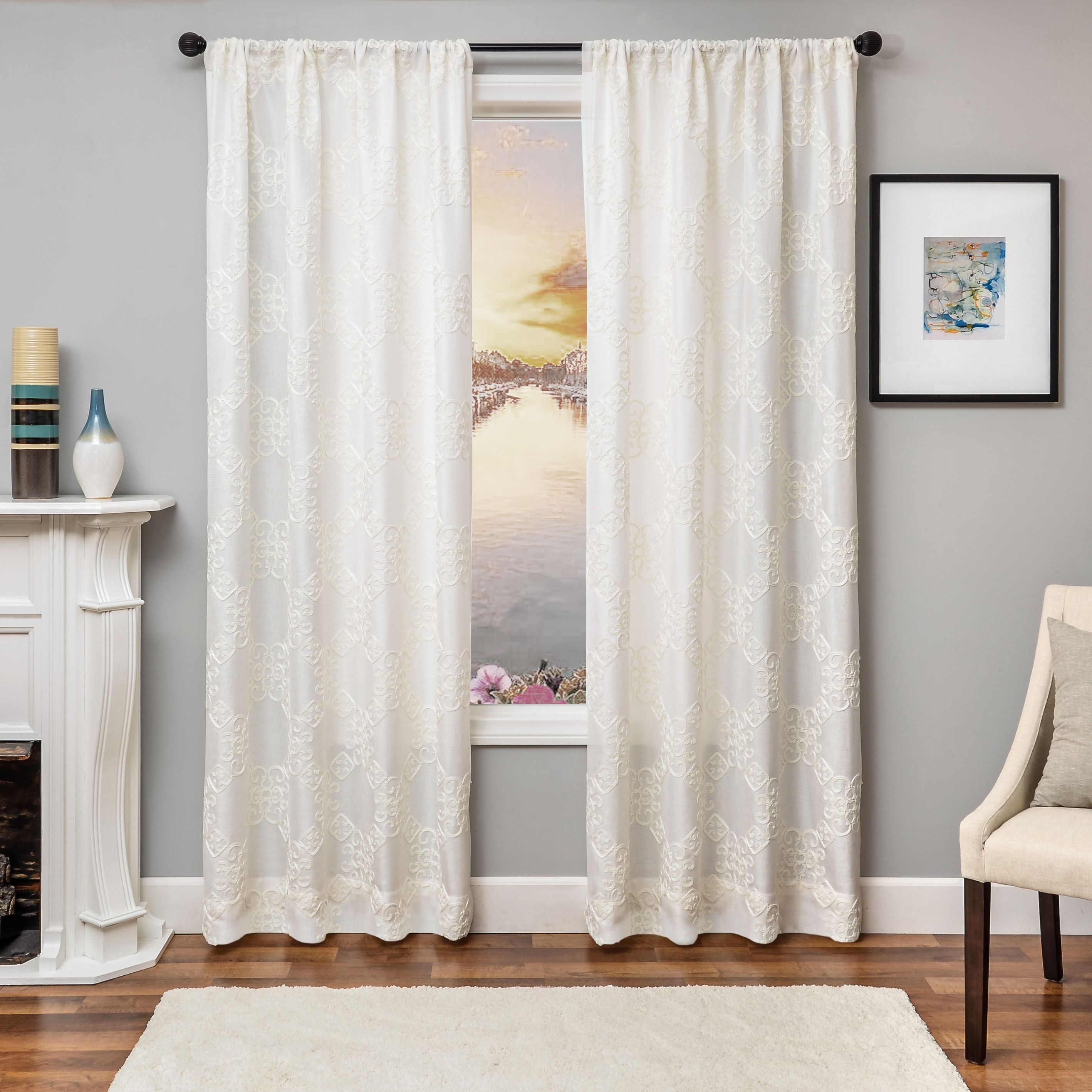 Liam 96 Embroidered Panel Curtain White White Paneling Panel
